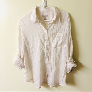 Chico's Sz 2 large button up cream blouse